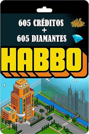 Cartão Habbo  605 Créditos + 605 Diamantes