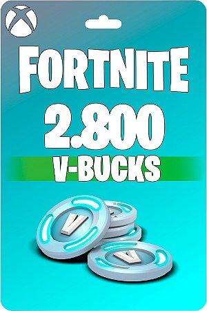 Cartão Fortnite 2.800 V-Bucks XBOX - Código 25 Dígitos Digital