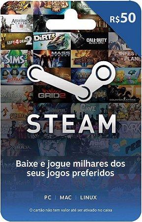 Cartão STEAM R$ 50 Reais - Brasil - Código Digital