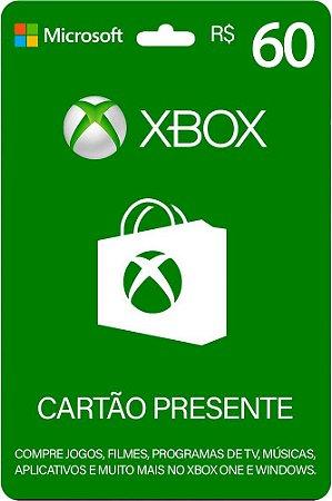 Cartão Presente Xbox R$ 60 Reais Brasil Gift Card - Código Digital