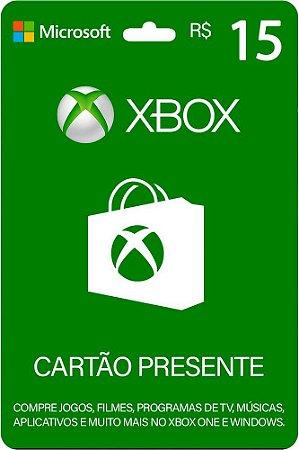 Cartão Presente Xbox R$ 15 Reais Brasil Gift Card - Código Digital