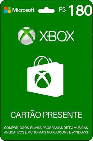 Cartão Presente Xbox R$ 180 Reais Brasil Gift Card - Código Digital