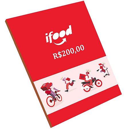 CARTÃO PRESENTE IFOOD R$ 200 REAIS GIFT CARD - BRASIL - CÓDIGO DIGITAL