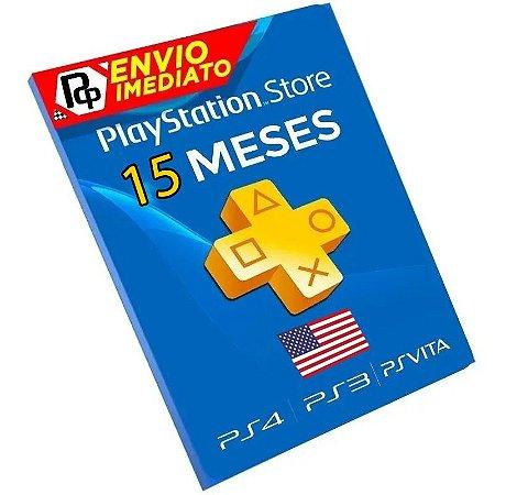 Cartão Playstation Network Plus 15 Meses - CÓDIGO AMERICANO - Código Digital