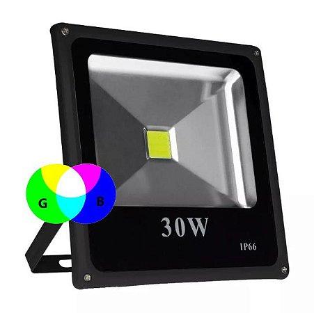 REFLETOR SLIM COLORIDO IP66 30W BIVOLT VERDE/AZUL