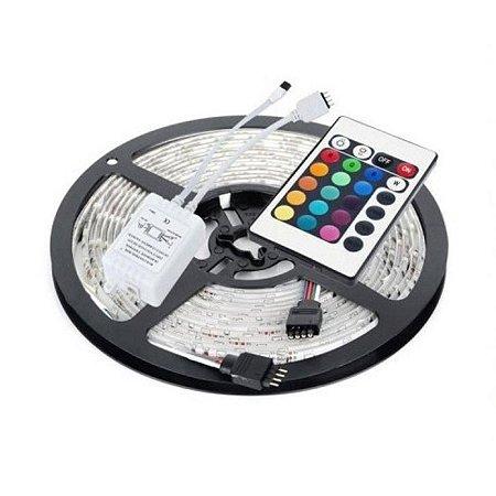 FITA LED COLORIDA RGB 5050 IP65 5M BIVOLT COM CONTROLE