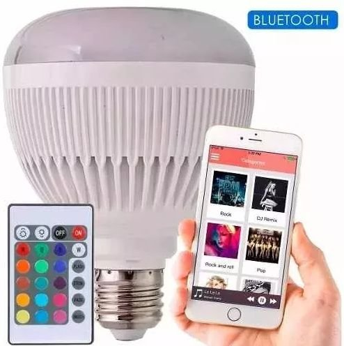 LAMPADA LED MUSICAL BLUETOOTH RGB 12W BIVOLT