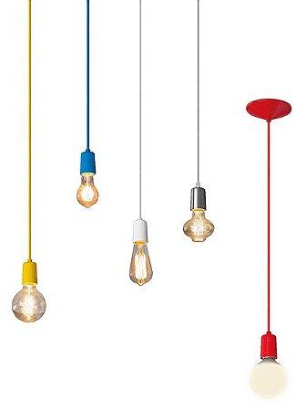 Pendente Alumínio + Lâmpada LED Filamento Vintage Retrô T45 4W Âmbar E27 Bivolt