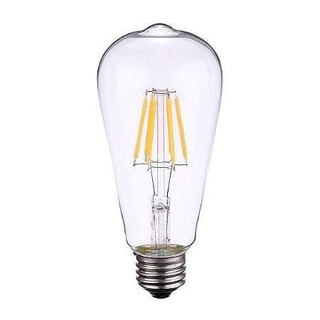 Lâmpada LED Filamento Vintage Retrô ST64 8W Âmbar E27 Bivolt