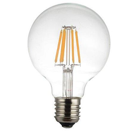 Lâmpada LED Filamento Vintage Retrô G80 8W Âmbar E27 Bivolt