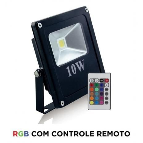 Refletor Holofote LED CHIP 10W RGB Colorido c/ Controle IP65 Bivolt