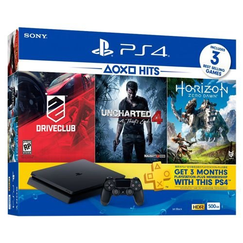 Playstation 4 Slim 500gb + Driveclub + Uncharted 4 + Horizon Zero Dawn