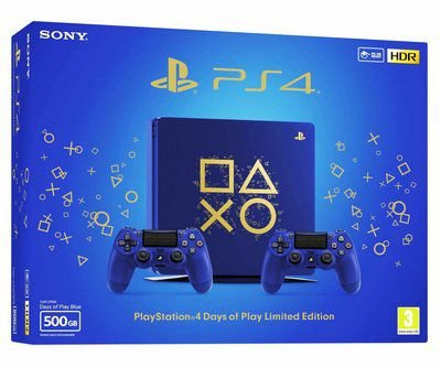 CONSOLE PLAYSTATION 4 SLIM 500GB - EDIÇÃO AZUL DAYS OF PLAY EDITION COM 2 CONTROLES