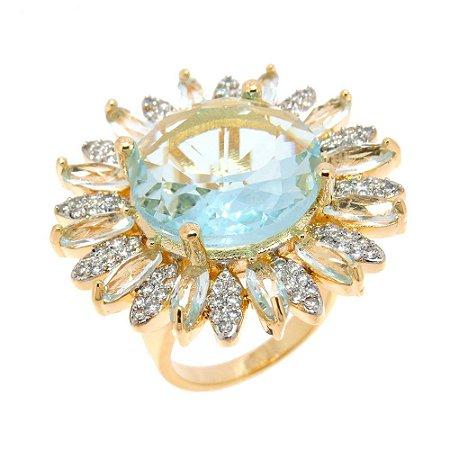 Anel Semijoia Surya Cristal Água Marinha Cravejado Zircônias Folheado Ouro 18k AN010