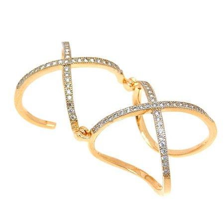 Anel Semijoia X Articulado Cravejado Zircônias Diamonds Folheado Ouro 18k AN012