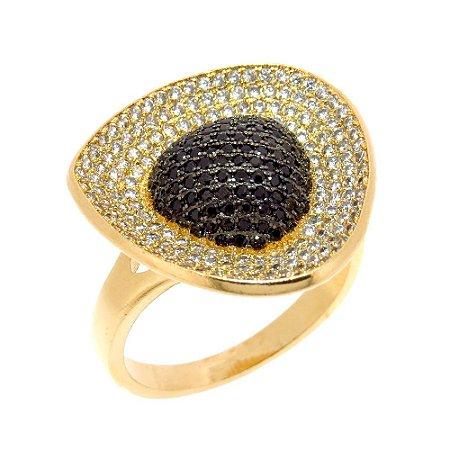 Anel Semijoia Kiara Cravejado Zircônias Diamonds e Blacks Folheado Ouro 18k AN016