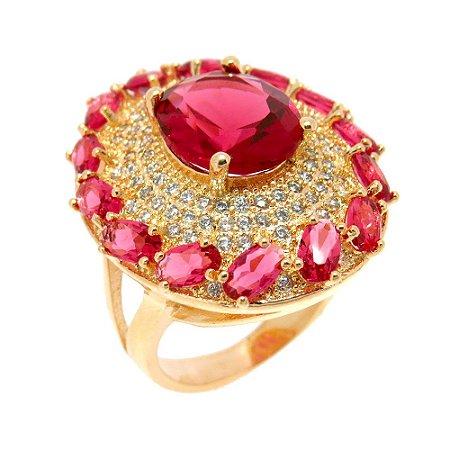 Anel Semijoia Viena Cristal Rubi Cravejado Zircônias Folheado Ouro 18k AN018