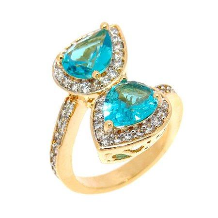 Anel Semijoia Mahila Cristal Topázio azul Cravejado Zircônias Folheado Ouro 18k AN020