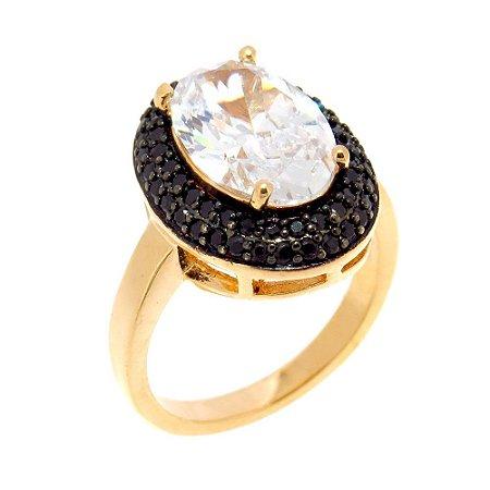 Anel Semijoia Sophia Cravejado Zircônias Black e Diamond Folheado Ouro 18k AN027