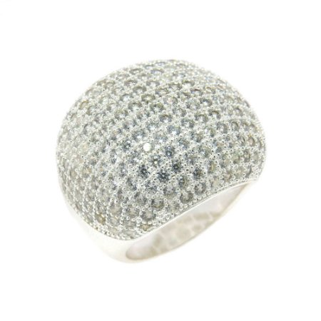 Anel Semijoia Bombê Cravejado Zircônias Diamond Folheado Prata AN032