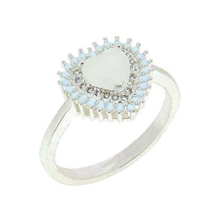Anel Semijoia Mini Coração Milk Jade Cravejado Zircônias Diamond Folheado Prata AN033