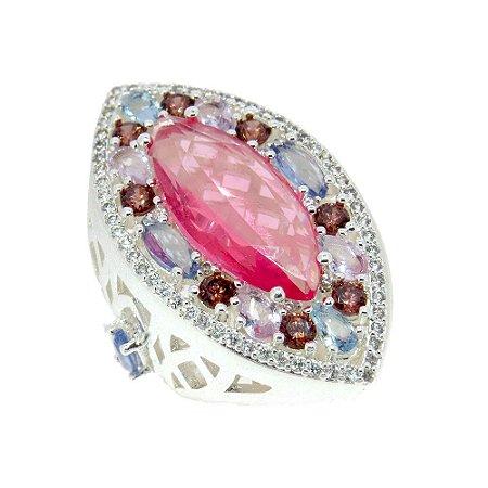 Anel Semijoia Cristais Pink e Água marinha Cravejado Zircônias Diamond e Rubilita Folheado Prata AN035