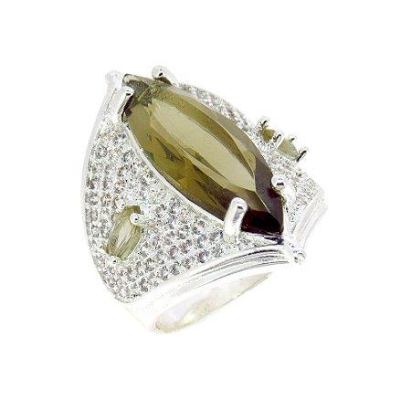 Anel Semijoia Riade Cristal Fumê Cravejado Zircônias Diamond Folheado Prata AN036