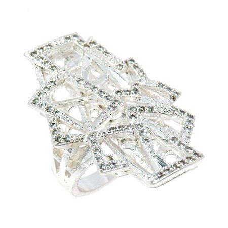 Anel Semijoia Sauer Cravejado Zircônias Diamond Folheado Prata AN039