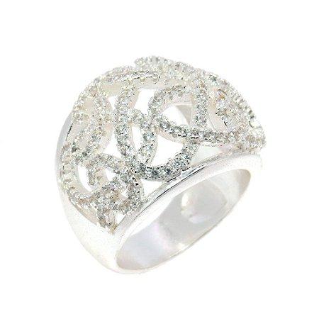 Anel Semijoia Bombê  Zig Zag Cravejado Zircônias Diamond Folheado Prata AN041