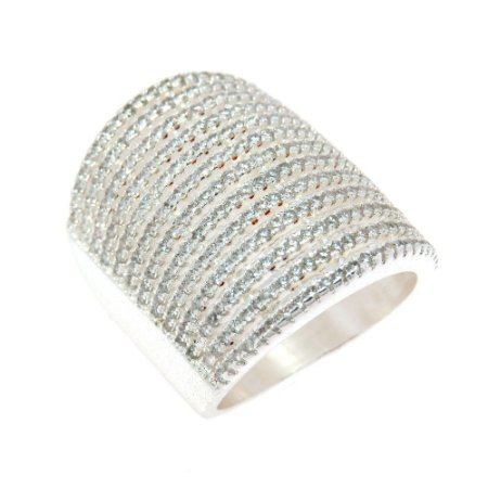 Anel Semijoia Bowls Cravejado Zircônias Diamond Folheado Prata AN042