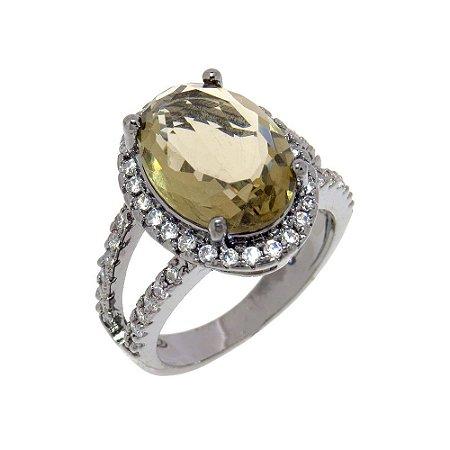 Anel Semijoia Cristal Fumê Cravejado Zircônias Diamond Folheado Ródio Negro AN048