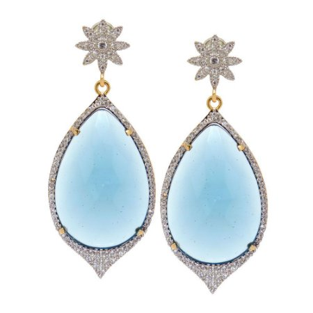 Brinco Semijoia Gota Cristal Azul Oceano Cravejado Zircõnias Diamond Folheado Ouro 18k BR007