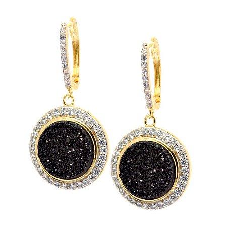 Brinco Semijoia Drusa Ágata Black Cravejado Zircônias Diamond Folheado Ouro 18k BR019