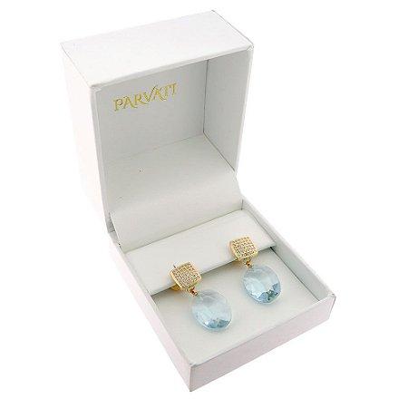 Brinco Semijoia Cristal Aguamarinha Cravejado Zircônias Diamond Folheado Ouro 18k BR022