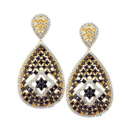 Brinco Semijoia Lilian Cravejado Zircônias Diamond e Black Folheado Ouro 18k BR029