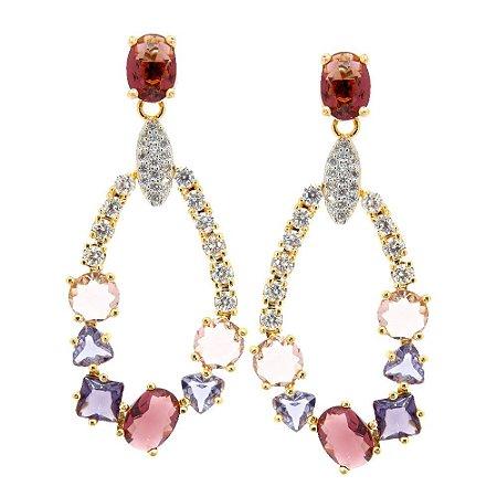 Brinco Semijoia Varanasi Cristal Multipurpple Cravejado Zircônias Diamond Folheado Ouro 18k BR031