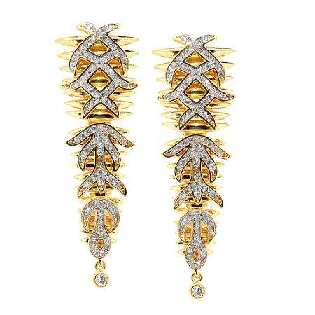 Brinco Semijoia Ayla Cravejado Zircônias Diamond Folheado Ouro 18k BR033