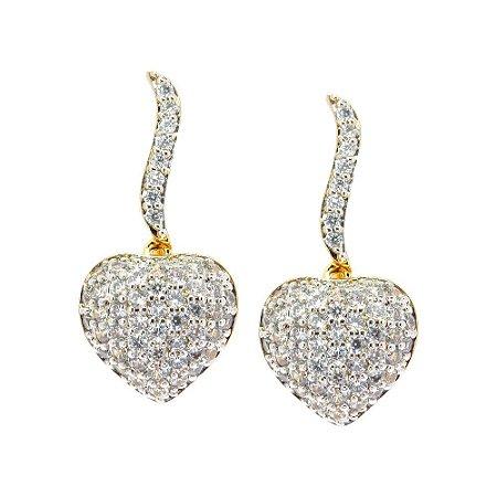 Brinco Semijoia Chama do Amor Cravejado Zircônias Diamond Folheado Ouro 18k BR035