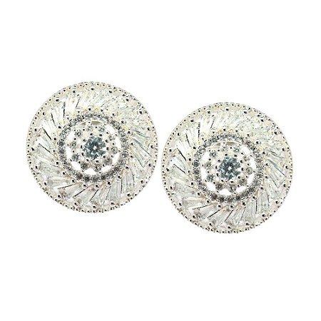 Brinco Semijoia Mandala Espiral Cravejado Zircônias Diamond Folheado Prata BR040