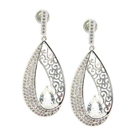 Brinco Semijoia Gota Cristal Cravejado Zircônias Diamond Folheado Prata BR041