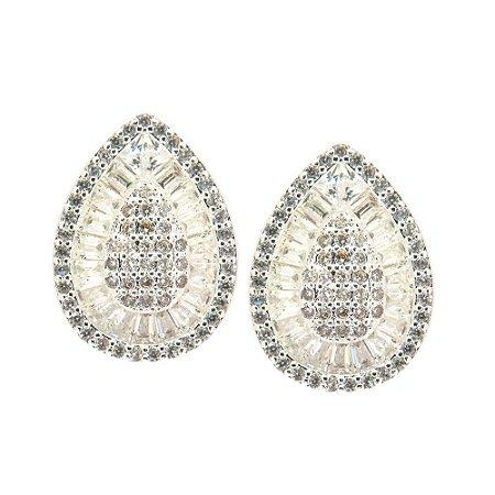Brinco Semijoia Gota Cravejado Zircônias Diamond Folheado Prata BR042