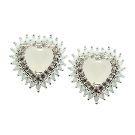 Brinco Semijoia Mini Coração Milk Jade Cravejado Zircônias Diamond Folheado Prata BR045