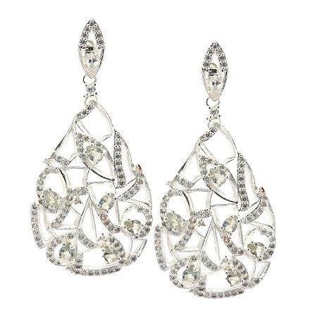 Brinco Semijoia Aqaba Cravejado Zircônias Diamond Folheado Prata BR050