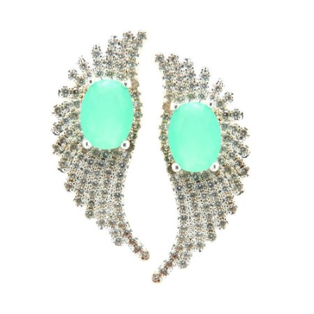 Brinco Semijoia Asa Zircônia Azul Tiffany Folheado Prata BR052