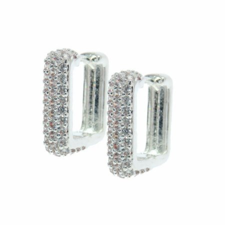 Brinco Semijoia Argola Square Cravejado Zircônias Diamond Folheado Prata BR053