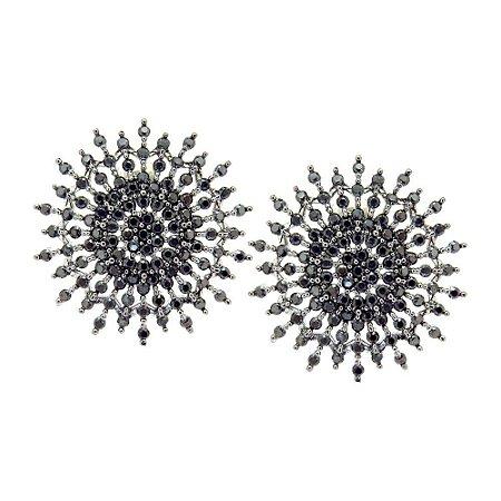 Brinco Semijoia Mandala Blast Cravejado Zircônias Black Folheado Ródio Negro BR059