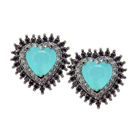 Brinco Semijoia Mini Coração Azul Tiffany Cravejado Zircônias Black e Diamond Folheado Ródio Negro BR067