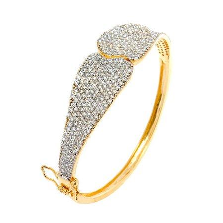 Bracelete Semijoia Alina Cravejado Zircônias Diamond Folheado Ouro 18k PU001
