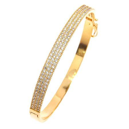 Bracelete Semijoia Slave Cravejado Zircônias Diamond Folheado Ouro 18k PU002