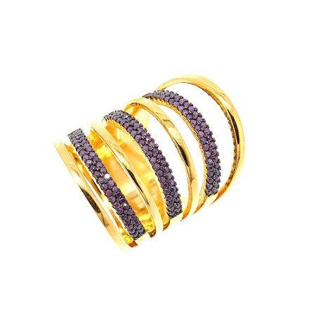 Anel Semijoia Circles Cravejado Zircônias Lilac Folheado Ouro 18k AN049